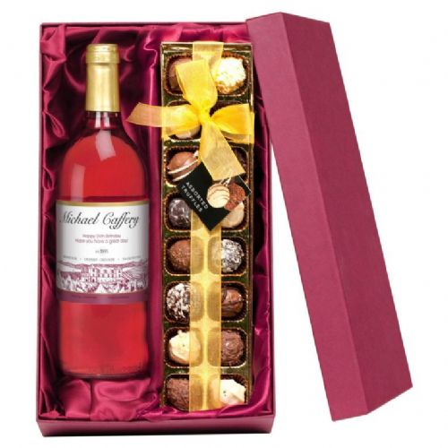 Personalised Rosé Wine and Chocolates
